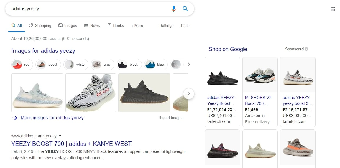 SEO ranking of adidas yeezy